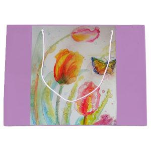 Pink Tulip Tulips Floral Watercolor Gift Bag