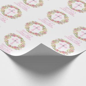 Pink Watercolor Floral Girl First Holy Communion Wrapping Paper