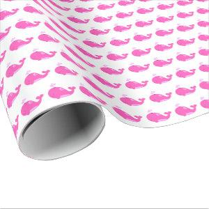 Pink Whales Baby Shower Wrapping Paper