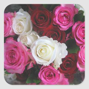 Pink, White & Red Roses Bouquet Photo- Square Sticker