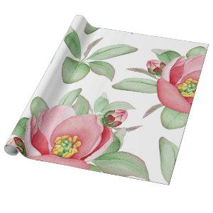 Pink Wild Rose Watercolor Floral Wrapping Paper