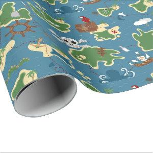 Pirate Adventure Treasure Map Blue Wrapping Paper