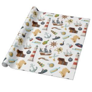 Pirate Nautical Icons Wrapping Paper