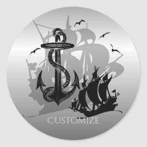 Pirate Ship & Anchor Black Silhouette Stickers