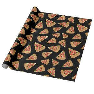 Pizza Party Pepperoni Novelty Black Wrapping Paper