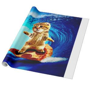 Pizza Surfing Cat - surf cat - surfcat Wrapping Paper