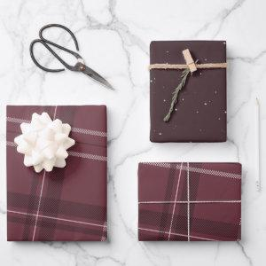 Plaid and stars classic holiday maroon wrapping paper sheets