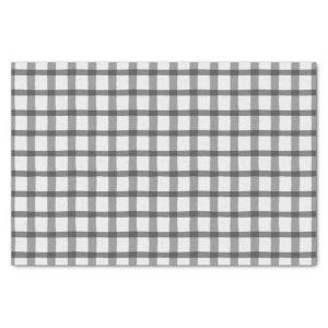 Plaid Gray and White Buffalo Check Tissue Paper