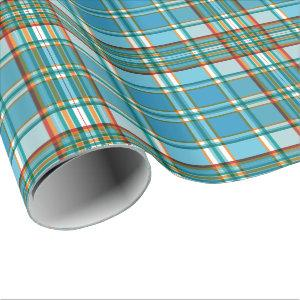 Plaid in blue orange and red wrapping paper