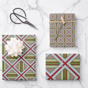 Plaid in Red, Green and Gray Wrapping Paper Sheets