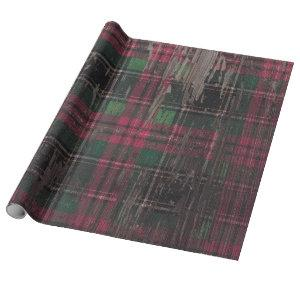 plaid rustic wood holiday christmas wrapping paper