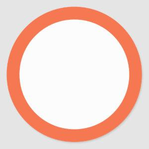 Plain tangerine orange border blank classic round sticker