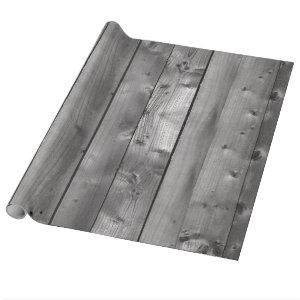 Planks of Knotty Grey Weathered Wood Wrapping Paper