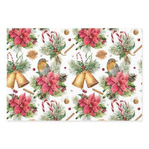 Poinsettia, robin, bells, candles, red berry wrapping paper sheets