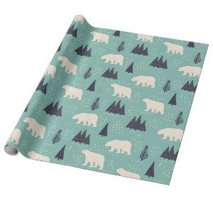 Polar Bears and Evergreen Trees Winter Patterned Wrapping Paper