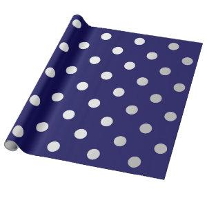 Polka Small Dots Blue Navy Sapphire Silver Gray Wrapping Paper