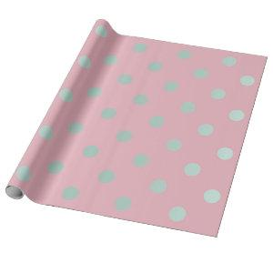 Polka Small Dots Powder Pink Pastel Aqua Wrapping Paper
