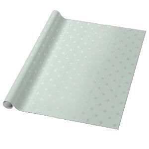Polka Tiny Small Dots Gray Blue Tiffany Aqua Wrapping Paper
