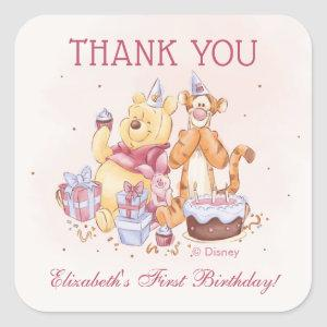Pooh & Friends Watercolor |  Birthday Thank You Square Sticker