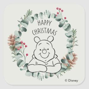 Pooh | Happy Christmas Wreath Square Sticker