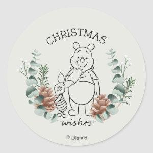Pooh & Piglet | Christmas Wishes Wreath Classic Round Sticker