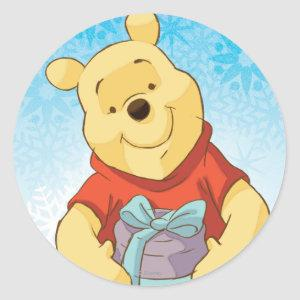 Pooh With Gift Classic Round Sticker