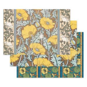 Poppy Art Illustration Flower Pattern Wrapping Paper Sheets