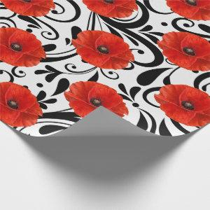 Poppy Red Flower Black White Glam Stripes Chic Wrapping Paper