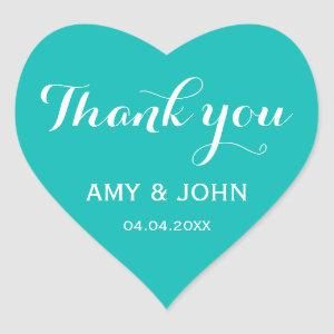 Popular teal blue aqua turquoise heart sticker