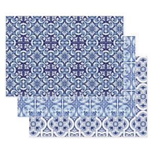 Portuguese blue tile wrapping paper sheets