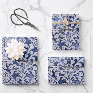 Portuguese Tiles - Azulejo Blue and White Floral Wrapping Paper Sheets