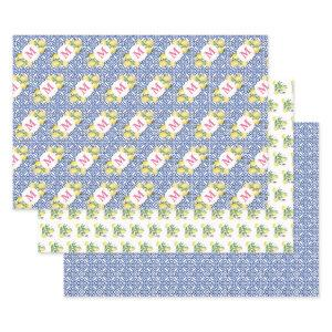 Positano Lemons Monogram Blue White Tile Pattern Wrapping Paper Sheets