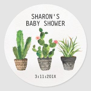 Potted Cactus Baby Shower Sticker