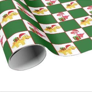 Prehistoric dinosaur Christmas party wrap Wrapping Paper