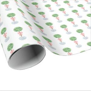Preppy Baby Girl Shower Boxwood Topiary Ginger Jar Wrapping Paper