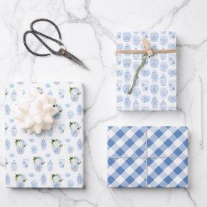 Preppy Blue And White Boy Baby Shower Wrapping Paper Sheets