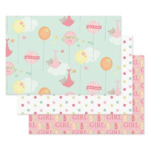 Pretty Baby Girl Baby Shower Mix and Match Wrapping Paper Sheets