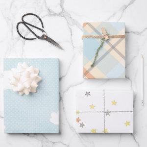 Pretty Blue Clouds Baby Shower Mix and Match Wrapping Paper Sheets