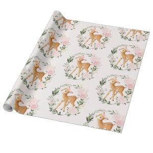 Pretty Blush Floral Woodland Deer Baby Fawn Wrapping Paper