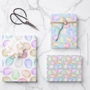 Pretty Colored Easter Egg Patterned Wrapping Paper Sheets