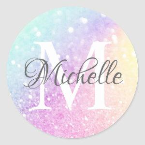 Pretty Holographic Glitter Girly Glamorous Classic Round Sticker