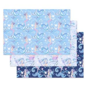Pretty Mermaid Purple Blue Wrapping Paper Sheets