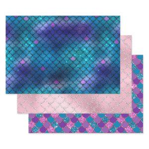 Pretty Mermaid Scales glitter Purple Blue Wrapping Paper Sheets
