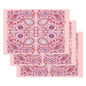 Pretty Paisley Pattern Shades of Pink White Flower Wrapping Paper Sheets