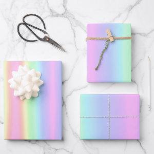 Pretty Pastel Rainbow Gradient Wrapping Paper Sheets