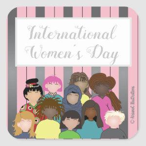Pretty Pink and Silver International Women's Day Square Sticker
