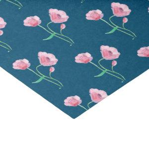 Pretty Pink Floral Pattern Blue Tissue Paper