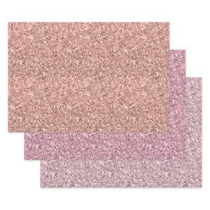 Pretty Pink Glitter Wrapping Paper Sheets