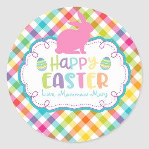 Pretty Plaid Happy Easter Personalized sticker