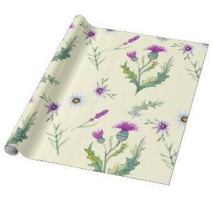 Pretty purple thistle flowers, yellow background wrapping paper